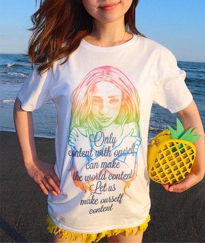 画像2: I LOVE ME♡ご自愛=ご慈愛♡自分自神Tシャツ(レインボー画×ネイビー文字)