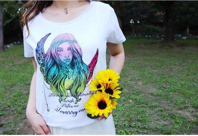画像2: 自分自魂との結魂Tシャツ【夜の虹色の月×ラメ女神version】